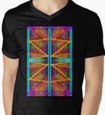 solara vortex: neon 80's geometric galaxy party Men's V-Neck T-Shirt