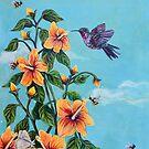 Hummingbird Bee painting by Rachelle Dyer