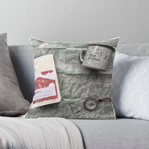 Coffee and Maps Series: Five Senses Coffee and Enamel Mug Throw Pillow