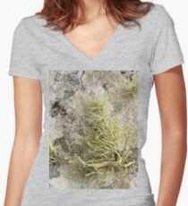Lichen on tomb in Shalwy Valley, Kilcar, Donegal Women's Fitted V-Neck T-Shirt