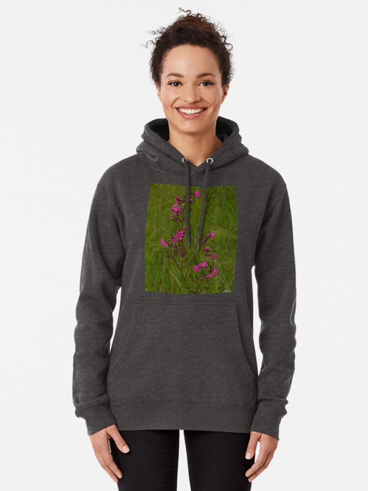 Alternate view of Red Campion in Burntollet Woods Pullover Hoodie