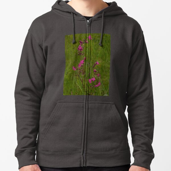 Red Campion in Burntollet Woods Zipped Hoodie