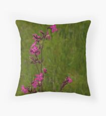 Red Campion in Burntollet Woods Throw Pillow