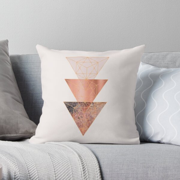 Blush and Copper Geo Throw Pillow