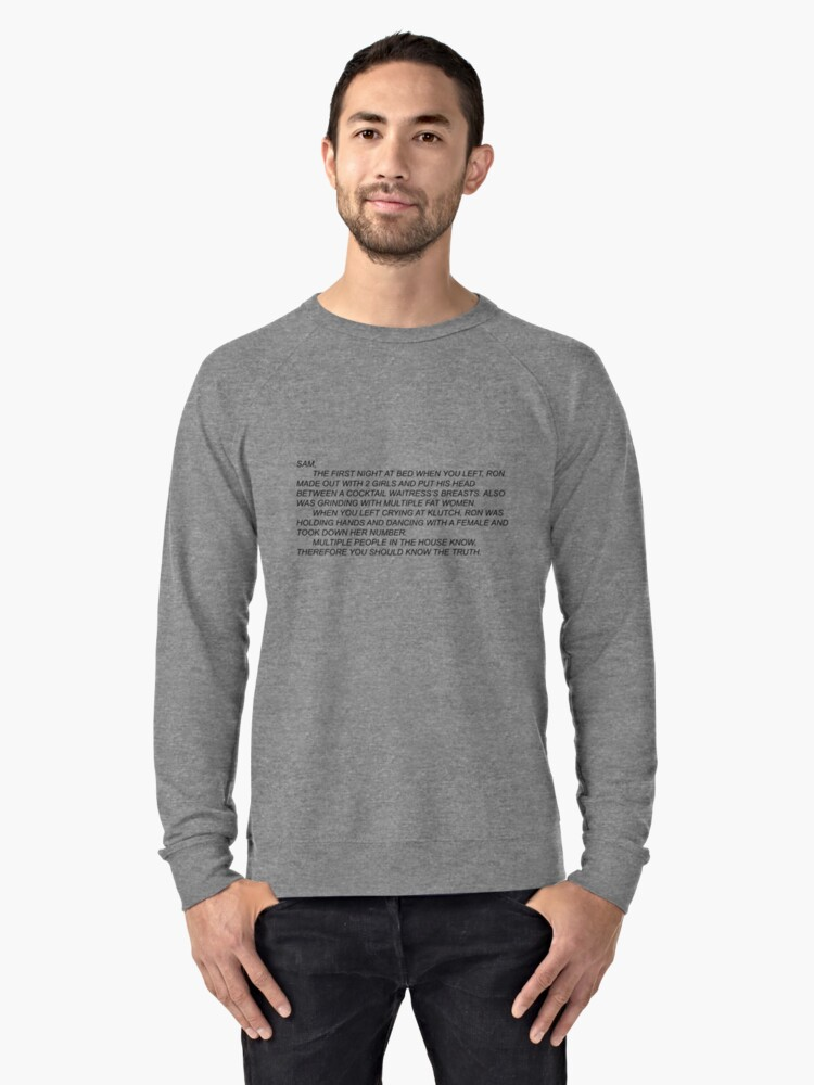 Anonymous Letter to Sammi Lightweight Sweatshirt Front