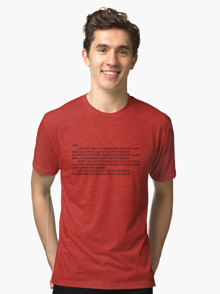 Anonymous Letter to Sammi Tri-blend T-Shirt Front
