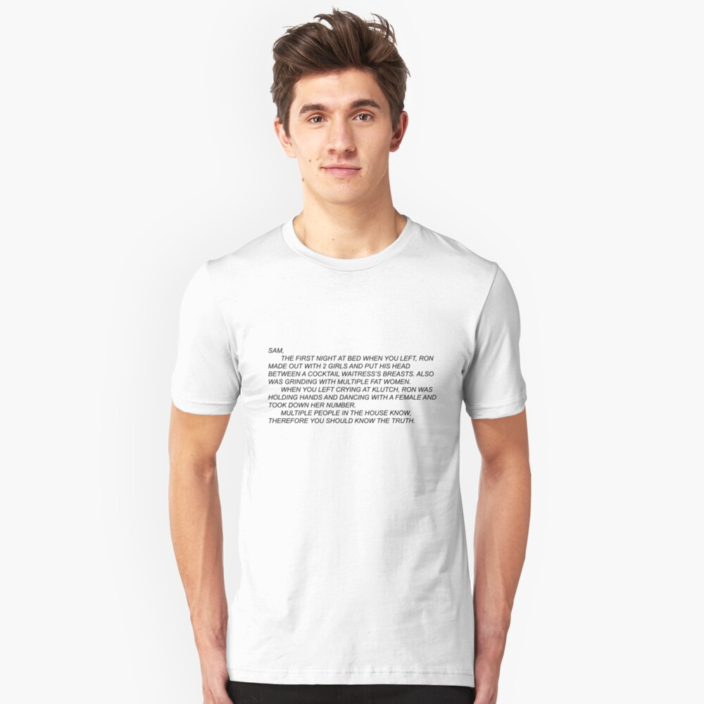 Anonymous Letter to Sammi Unisex T-Shirt Front