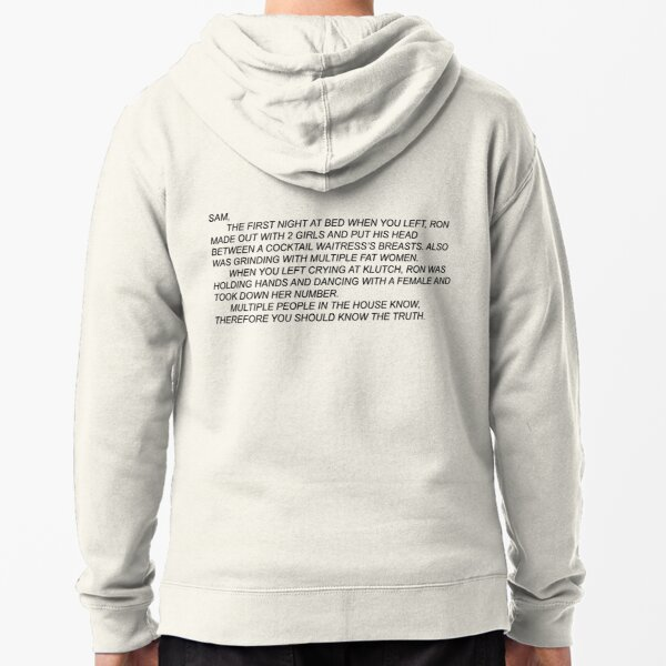 Anonymous Letter to Sammi Zipped Hoodie