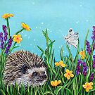 Hedgehog in the grass by Rachelle Dyer