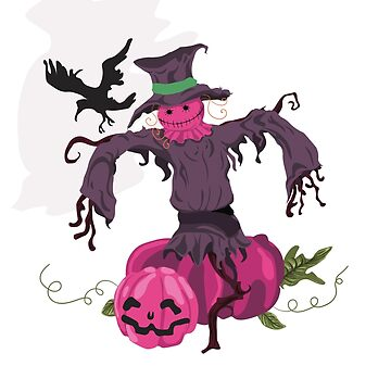 Scarecrow Riding a Pumpkin, Crow, Halloween by Jurzai