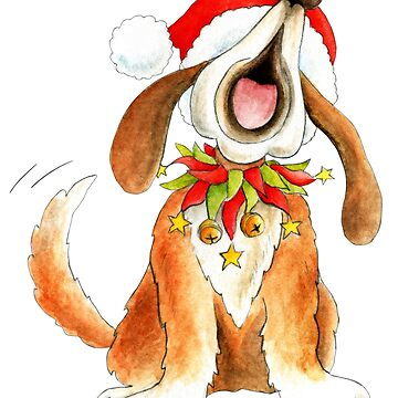 Cute Christmas character dog singing by sarahtrett