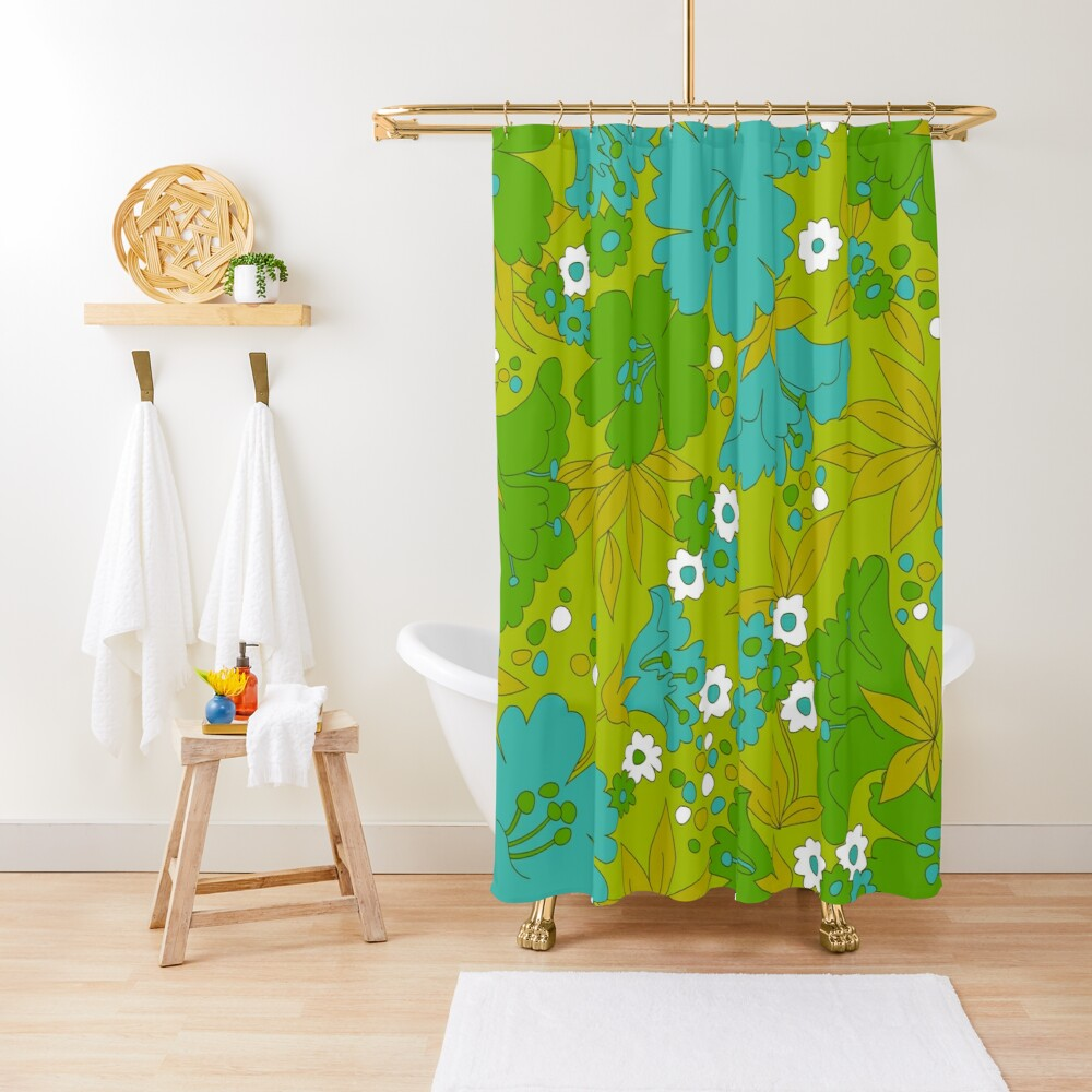 Green, Turquoise, and White Retro Flower Pattern Shower Curtain