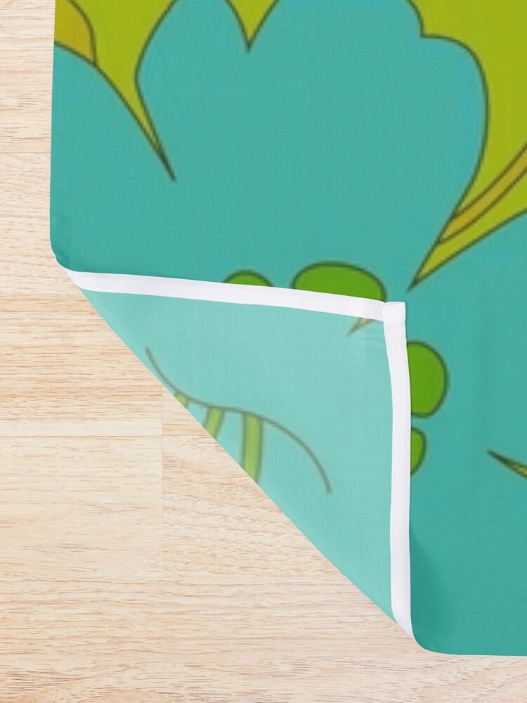 Alternate view of Green, Turquoise, and White Retro Flower Pattern Shower Curtain