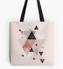 Geometric Compilation in Rose Gold and Blush Pink Tote Bag