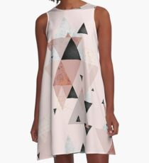 Geometric Compilation in Rose Gold and Blush Pink A-Line Dress