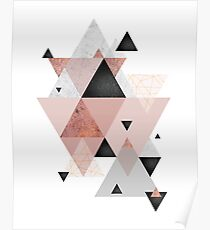 Geometric Compilation in Rose Gold and Blush Pink Poster