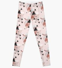 Geometric Compilation in Rose Gold and Blush Pink Leggings
