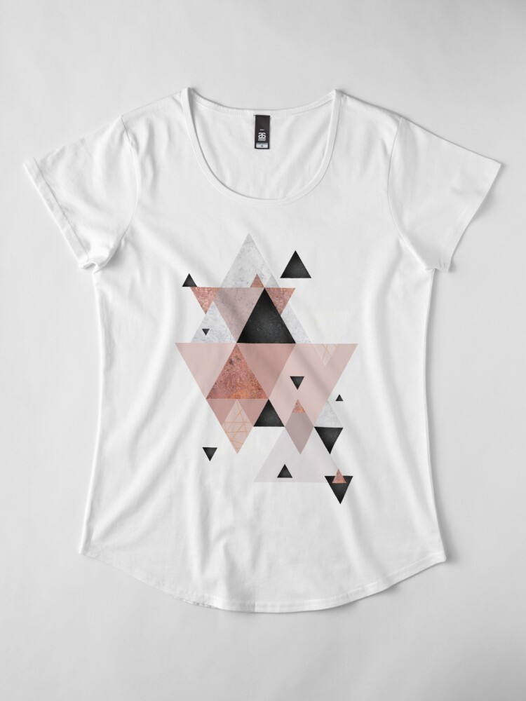 Alternate view of Geometric Compilation in Rose Gold and Blush Pink Premium Scoop T-Shirt