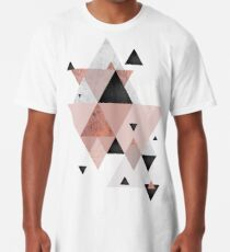 Geometric Compilation in Rose Gold and Blush Pink Long T-Shirt