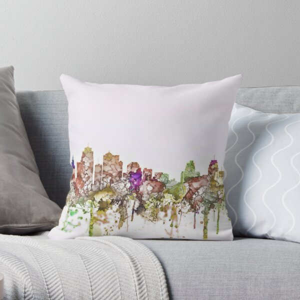 Kansas City, Missouri Skyline - Faded Glory Throw Pillow