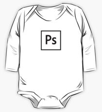 Adobe Photoshop Logo - Black Outline (Transparent) One Piece - Long Sleeve