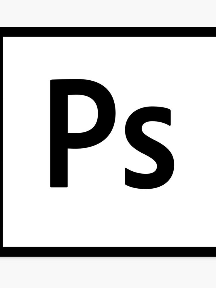 Adobe Photoshop Logo - Black Outline (Transparent) | Canvas Print