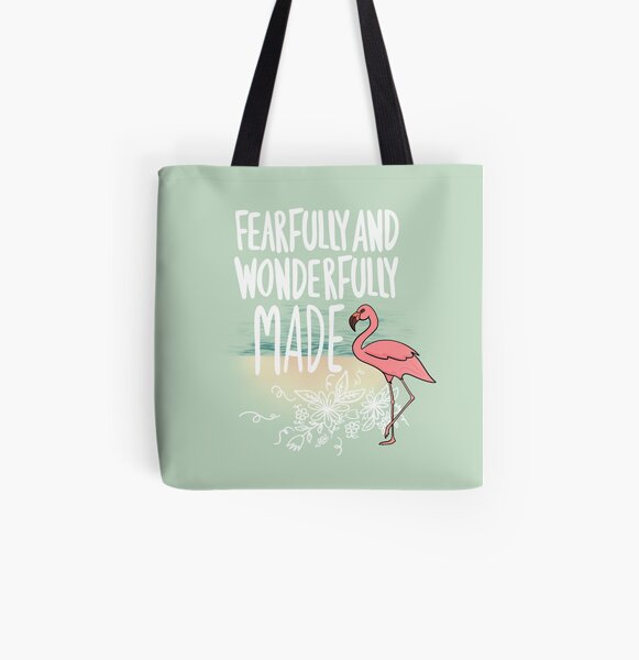 Fearfully and Wonderfully Made Flamingo on the Beach All Over Print Tote Bag