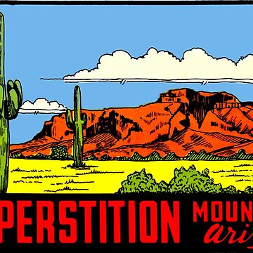 Superstition Mountains Arizona Vintage Decal Calcomanía de hilda74