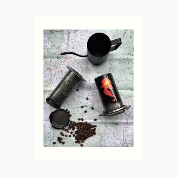 Coffee and Maps Series: Custom Soundgarded Aeropress Art Print