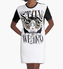 Rose and The Ravens {Stay Weird} Colour Version Graphic T-Shirt Dress