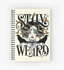 Cuaderno de espiral Rose and The Ravens {Stay Weird} Versión en color