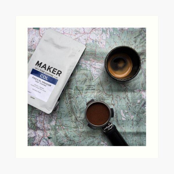 Coffee and Maps Series: Maker Fine Coffee and Espresso Portafilter Art Print