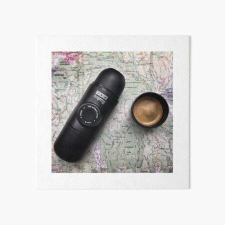 Coffee and Maps Series: Minipresso Espresso maker Art Board Print
