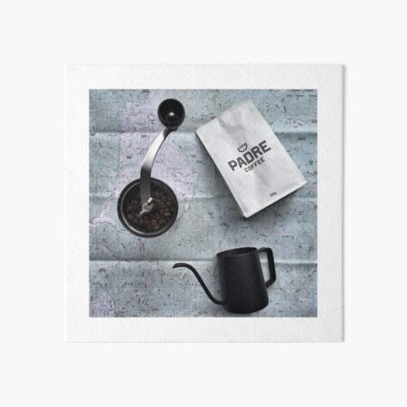Coffee and Maps Series: Padre Coffee and Hario hand grinder Art Board Print