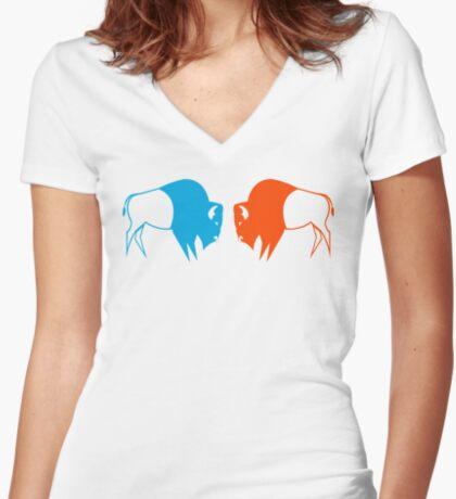 Orange Blue Buffalo Nation Women's Fitted V-Neck T-Shirt
