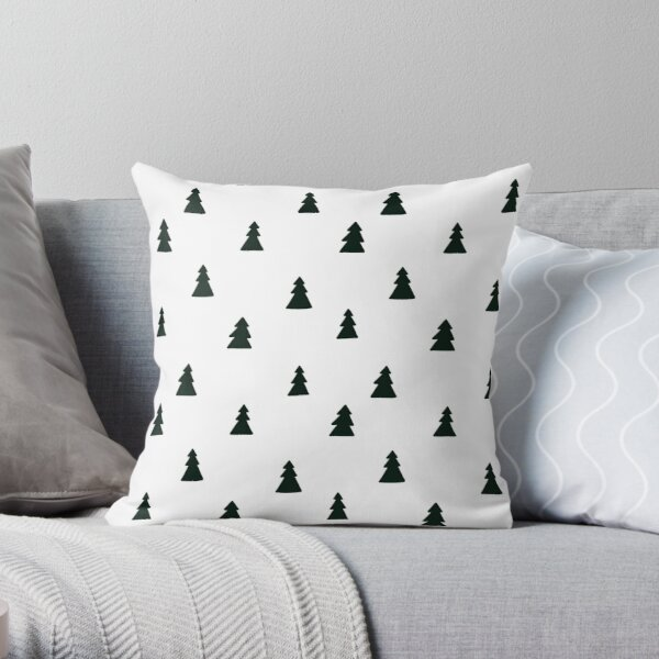 Black Modern Christmas Tree Pattern Throw Pillow