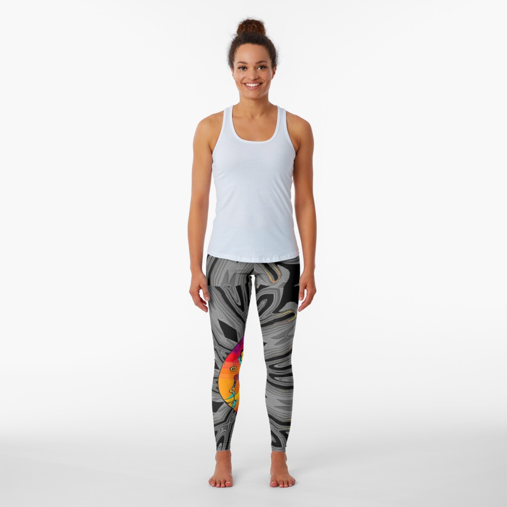 Girl With Kaleidoscope Eyes and black and gray background Leggings
