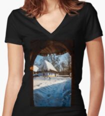 Fairytale cottage in winter at the Village Museum in Bucharest Women's Fitted V-Neck T-Shirt