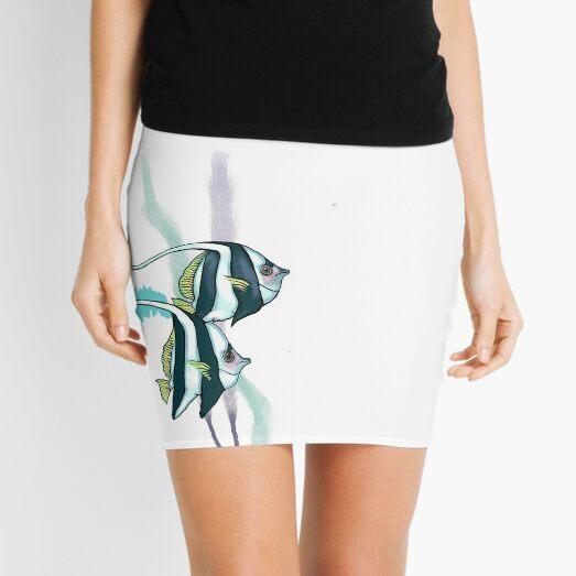 Reef Bannerfish, Striped Fish, Underwater, Nautical Mini Skirt
