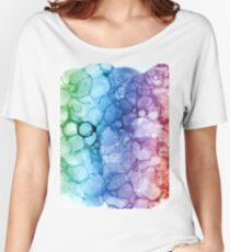 Watercolor rainbow abstract bubble Women's Relaxed Fit T-Shirt