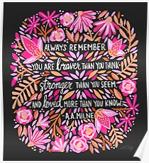 Always Remember – Pink & Charcoal Palette Poster