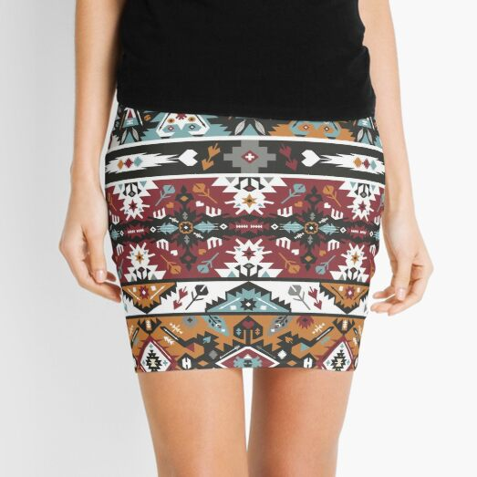 Fancy abstract geometric pattern in tribal style Mini Skirt