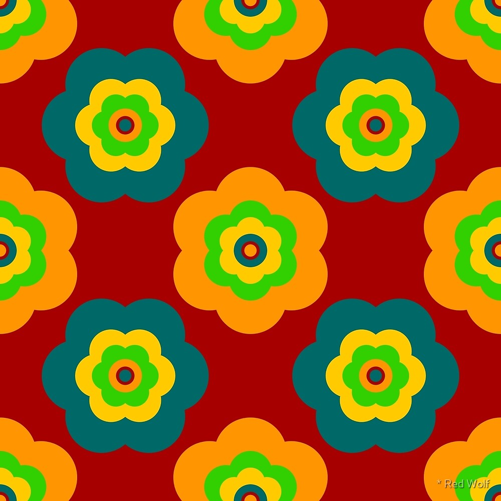 Geometric Pattern: Six Petal Flower: Red by * Red Wolf