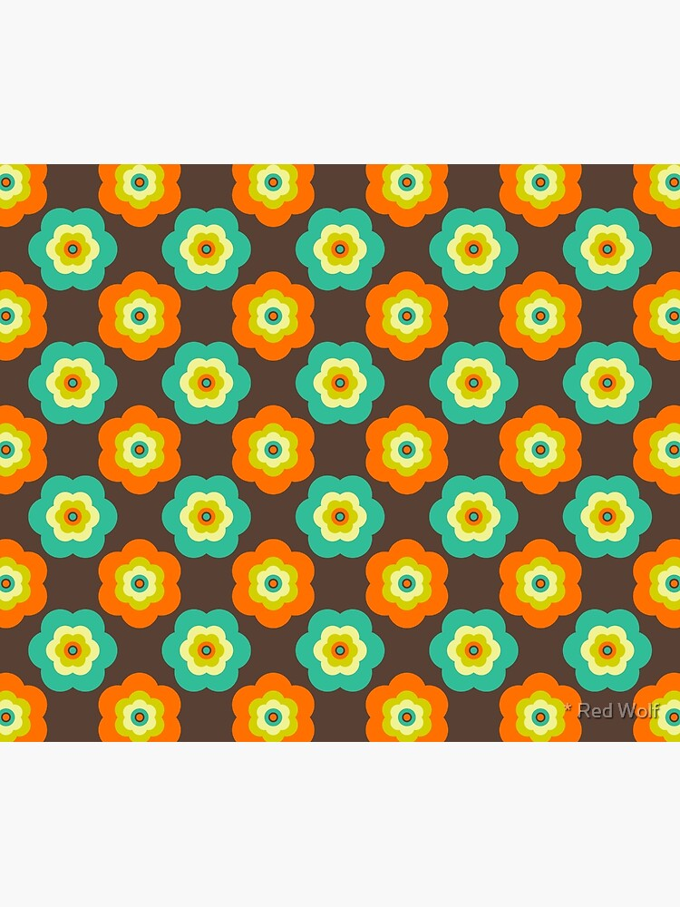 Geometric Pattern: Six Petal Flower: Brown by redwolfoz
