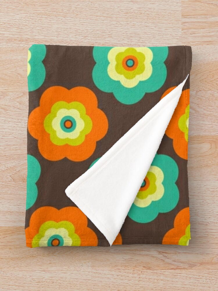 Alternate view of Geometric Pattern: Six Petal Flower: Brown Throw Blanket