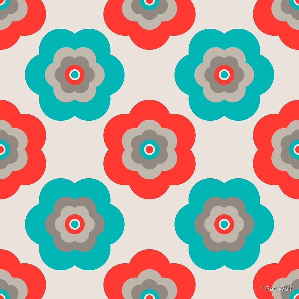 Geometric Pattern: Six Petal Flower: Grey by * Red Wolf