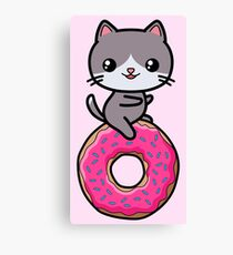 Cat Kawaii Donut Cute Canvas Print