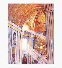 Watercolor painting of inside of St. Peter's Basilica- Vatican, Rome (Italy) Photographic Print