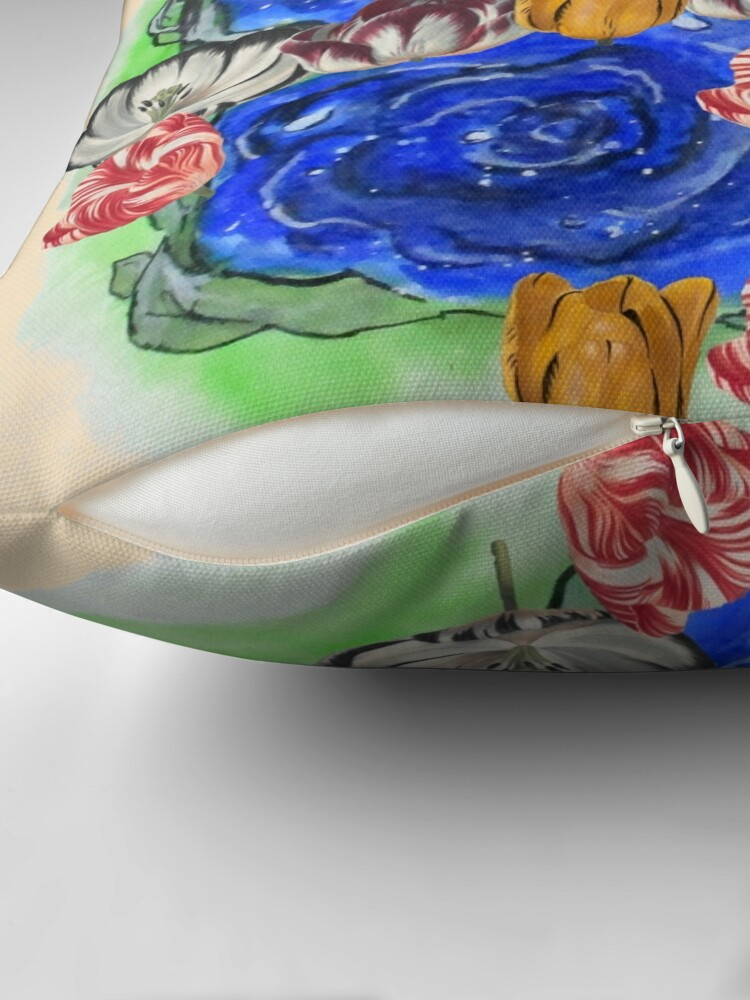 Alternate view of Blue Roses and Tulip Fantasy Throw Pillow