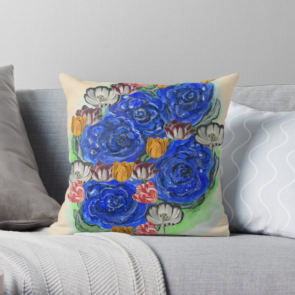 Blue Roses and Tulip Fantasy Throw Pillow